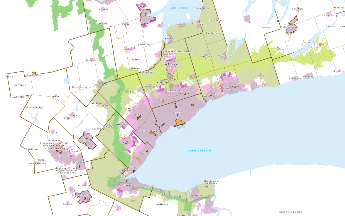 Urban Growth Centres Location And Extent Neptis Foundation - Urban grown us map