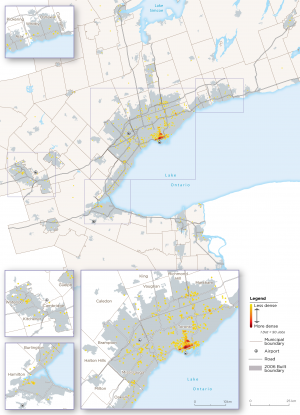 Map 11:  Arts and Design-Related Archetype Employment, GGH, 2016