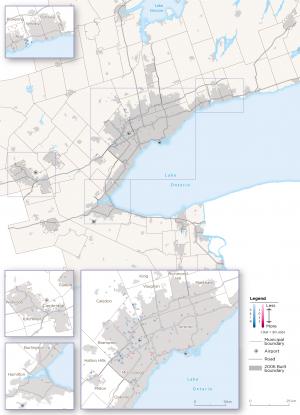 Map 22:  Logistics Archetype Employment Change, GGH, 2006-2016