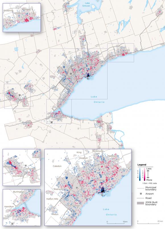 Map 2:  Core Employment Change, GGH, 2006-2016
