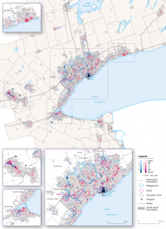 Map 4:  Core Employment Change, GGH with Megazones and SKIDs, 2006-2016